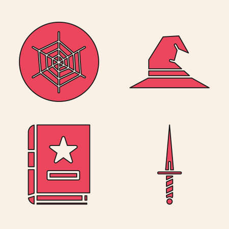 Set Dagger, Spider web, Witch hat and Ancient magic book icon. Vector