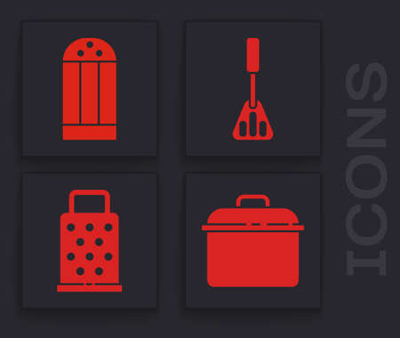 Set Cooking pot, Salt, Spatula and Grater icon. Vector