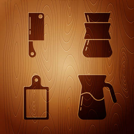 Set Jug glass with water, Meat chopper, Cutting board and Coffee turk on wooden background. Vector