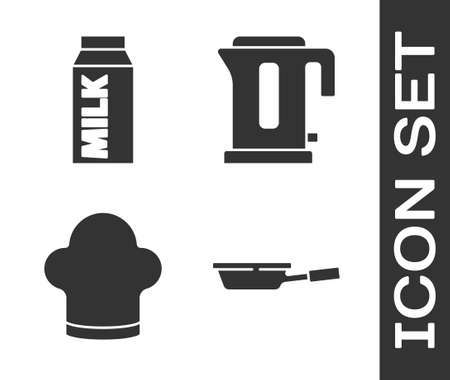 Set Frying pan, Paper package for milk, Chef hat and Electric kettle icon. Vector