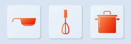 Set Kitchen whisk, Frying pan and Cooking pot. White square button. Vector Vettoriali