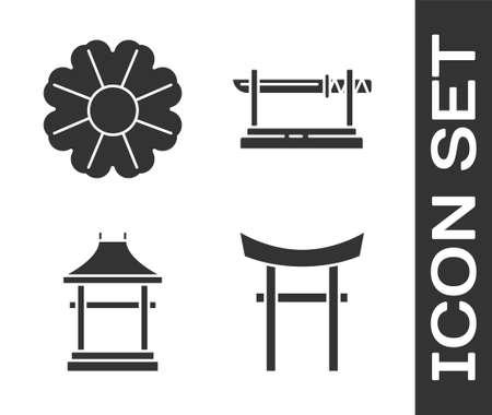 Set Japan Gate, Flower, Japan Gate and Traditional Japanese katana icon. Vector