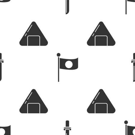 Set Japanese katana, National flag of Japan on pole and Sushi on seamless pattern. Vector