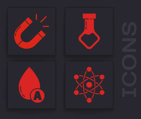 Set Atom, Magnet, Test tube and flask chemical and Water drop icon. Vector 矢量图像