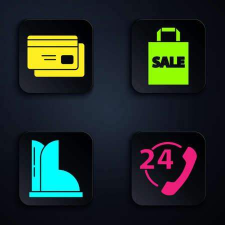 Set Telephone 24 hours support, Credit card, Waterproof rubber boot and Shopping bag with Sale. Black square button. Vector 向量圖像