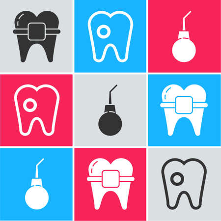 Set Teeth with braces, Tooth with caries and Enema pear icon. Vector