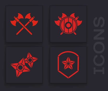 Set Police badge, Crossed medieval axes, Medieval shield with crossed axes and Japanese ninja shuriken icon. Vector