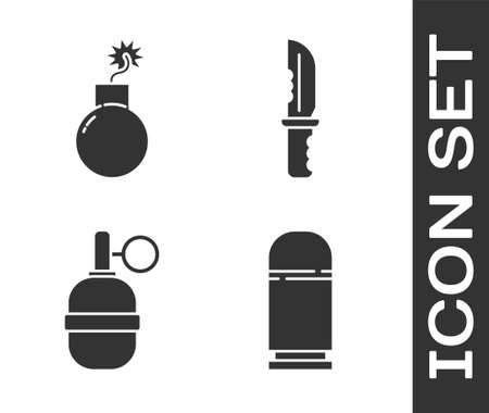 Set Cartridges, Bomb ready to explode, Hand grenade and Military knife icon. Vector