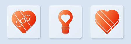 Set Heart shape in a light bulb, Candy in heart shaped box and Candy in heart shaped box. White square button. Vector 矢量图像
