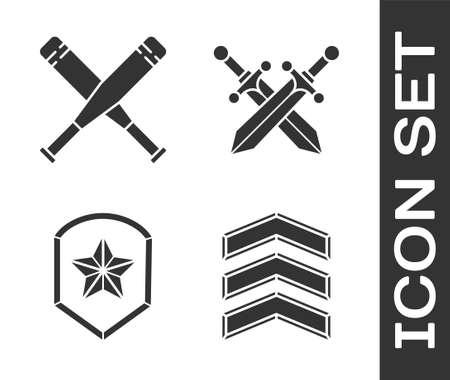 Set Military rank, Crossed baseball bat, Police badge and Crossed medieval sword icon. Vector Vettoriali