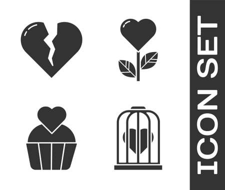 Set Heart in the bird cage, Broken heart or divorce, Wedding cake with heart and Heart shape in a flower icon. Vector