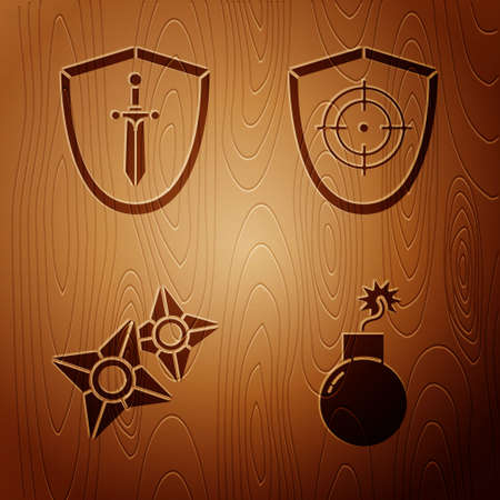 Set Bomb ready to explode, Medieval shield with sword, Japanese ninja shuriken and Target sport on wooden background. Vector Vettoriali