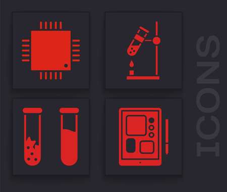 Set Graphic tablet, Processor with microcircuits CPU, Test tube flask on fire and Test tube and flask icon. Vector