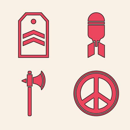 Set Peace, Chevron, Aviation bomb and Medieval axe icon. Vector