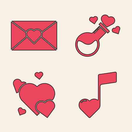 Set Music note, tone with hearts, Envelope with Valentine heart, Bottle with love potion and Heart icon. Vector