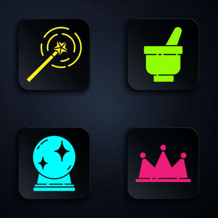 Set Crown, Magic wand, Magic ball and Magic mortar and pestle. Black square button. Vector
