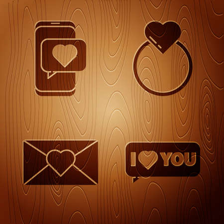 Set Speech bubble with I love you, Online dating app and chat, Envelope with 8 March and Wedding rings on wooden background. Vector