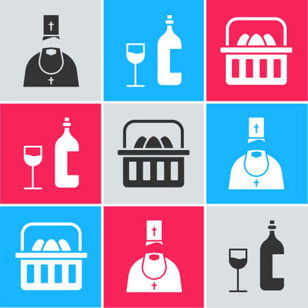 Set Priest, Wine bottle with glass and Basket with easter eggs icon. Vector