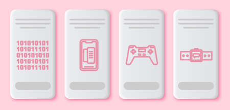 Set line Binary code, Smartphone, mobile phone, Gamepad and Smartwatch. White rectangle button. Vector 向量圖像