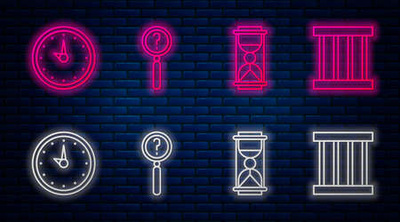Set line Magnifying glass with search, Old hourglass with sand, Clock and Prison window. Glowing neon icon on brick wall. Vector