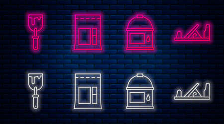 Set line Cement bag, Paint bucket, Putty knife and Wood plane tool. Glowing neon icon on brick wall. Vector
