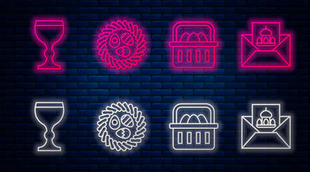 Set line Easter egg in a wicker nest, Basket with easter eggs, Wine glass and Greeting card with Happy Easter. Glowing neon icon on brick wall. Vector