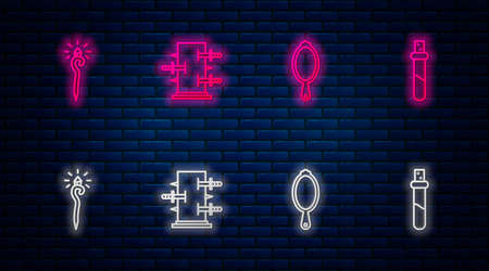Set line Trunk for magic tricks, Magic hand mirror, staff and Bottle with love potion. Glowing neon icon on brick wall. Vector Vettoriali
