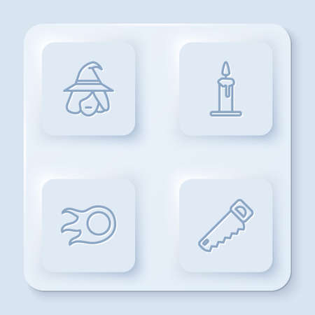 Set line Witch, Burning candle in candlestick, Fireball and Hand saw. White square button. Vector