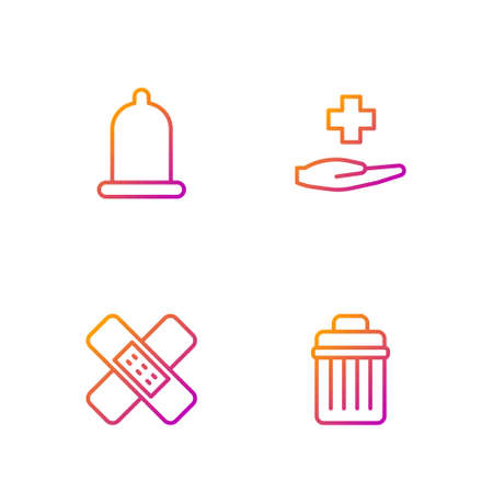 Set line Trash can, Crossed bandage plaster, Condom and hospital medical. Gradient color icons. Vector