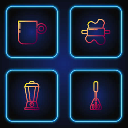 Set line Spatula, Blender, Coffee cup and Rolling pin on dough. Gradient color icons. Vector 일러스트
