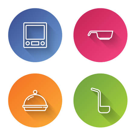Set line Electronic scales, Frying pan, Covered with tray of food and Kitchen ladle. Color circle button. Vector
