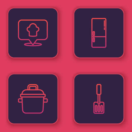 Set line Chef hat with location, Cooking pot, Refrigerator and Spatula. Blue square button. Vector