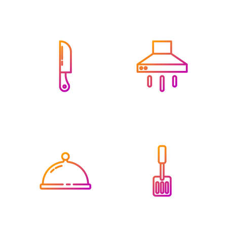 Set line Spatula, Covered with tray of food, Knife and Kitchen extractor fan. Gradient color icons. Vector Ilustracja