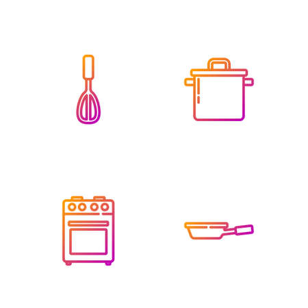 Set line Frying pan, Oven, Kitchen whisk and Cooking pot. Gradient color icons. Vector Vettoriali