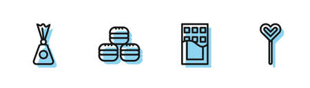 Set line Chocolate bar, Candy, Macaron cookie and Lollipop icon. Vector Vettoriali