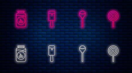 Set line Ice cream, Lollipop, Cherry jam jar and . Glowing neon icon on brick wall. Vector