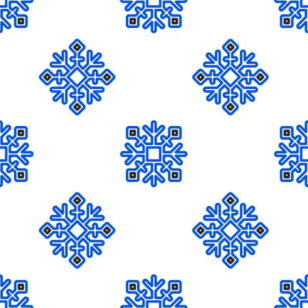 Line Snowflake icon isolated seamless pattern on white background. Colorful outline concept. Vector Ilustracja