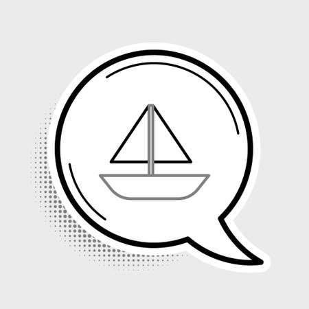 Line Yacht sailboat or sailing ship icon isolated on grey background. Sail boat marine cruise travel. Colorful outline concept. Vector