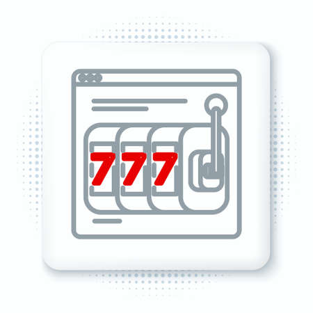 Line Online slot machine with lucky sevens jackpot icon isolated on white background. Online casino. Colorful outline concept. Vector
