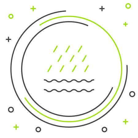 Line Rain and waves icon isolated on white background. Rain cloud precipitation with rain drops. Colorful outline concept. Vector Ilustracja