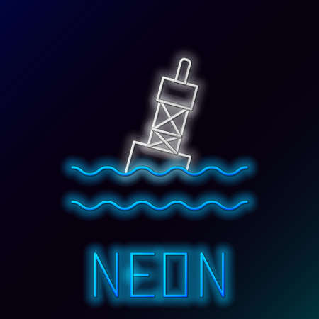Glowing neon line Floating buoy on the sea icon isolated on black background. Colorful outline concept. Vector Ilustracja
