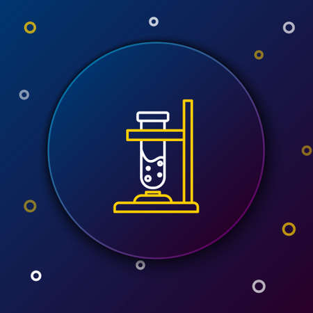 Line Glass test tube flask on fire heater experiment icon isolated on blue background. Laboratory equipment. Colorful outline concept. Vector