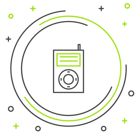 Line Music MP3 player icon isolated on white background. Portable music device. Colorful outline concept. Vector Ilustração