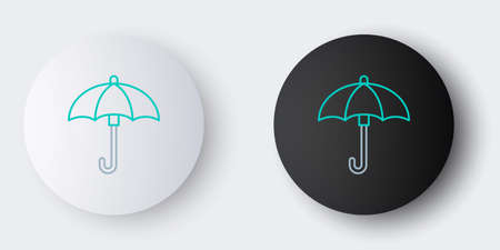 Line Umbrella icon isolated on grey background. Waterproof icon. Protection, safety, security concept. Water resistant symbol. Colorful outline concept. Vector