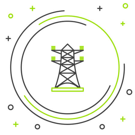 Line Electric tower used to support an overhead power line icon isolated on white background. High voltage power pole line. Colorful outline concept. Vector
