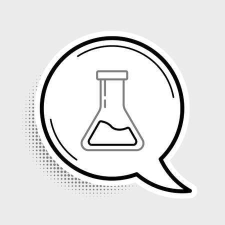 Line Test tube and flask - chemical laboratory test icon isolated on grey background. Laboratory glassware sign. Colorful outline concept. Vector