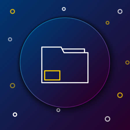 Line Document folder icon isolated on blue background. Accounting binder symbol. Bookkeeping management. Colorful outline concept. Vector