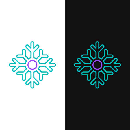 Line Snowflake icon isolated on white and black background. Merry Christmas and Happy New Year. Colorful outline concept. Vector Ilustracja