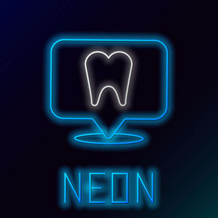 Glowing neon line Dental clinic location icon isolated on black background. Colorful outline concept. Vector