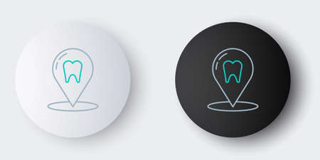 Line Dental clinic location icon isolated on grey background. Colorful outline concept. Vector